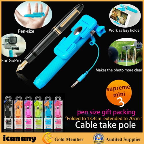 2016 Wholesale Super Mini Wired New Selfie Stick (RK-Mini3) pictures & photos