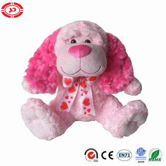 China Pink Fluffy Sitting Cute Dog Stuffed Valentines Puppy Plush