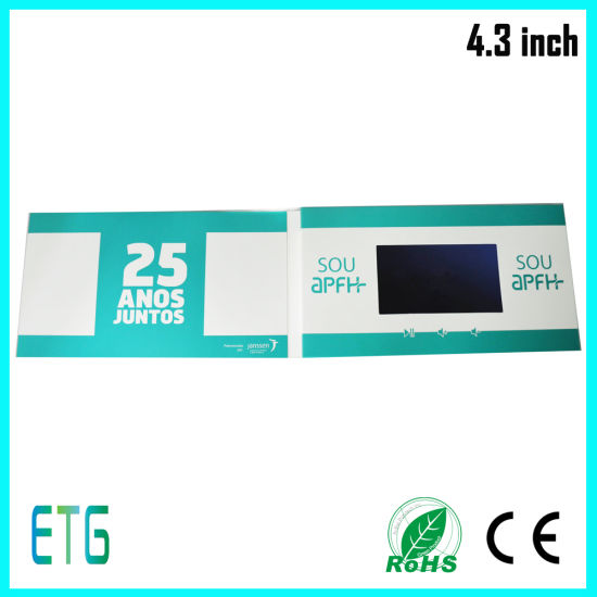 2015 Newest LCD Video Greeting Card, Video Brochure with 7′′ Screen Size for Business pictures & photos