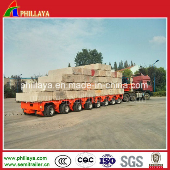 Removable Combined Self-Propelled Multi Axle Modular Low Bed Lowbed Semi Trailer with Hydraulic Steering & Lifting pictures & photos