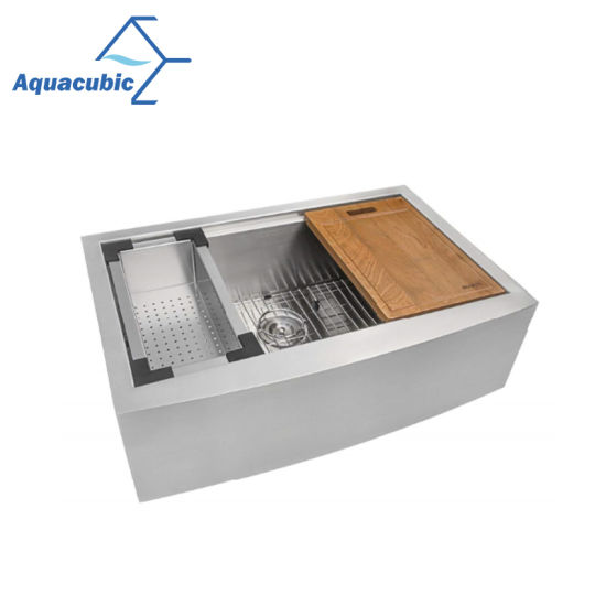 China Aquacubic Stainless Steel Handmade A Front Kitchen Sink