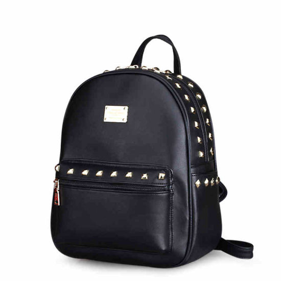 70ffd8e610 Hot Selling Black PU Leather Custom Logo Backpack with SGS (ZX10239)  pictures   photos