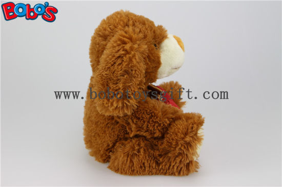 Dark Brown Plush Stuffed Dog Animals with Red Heart Pillow Bos1151 pictures & photos