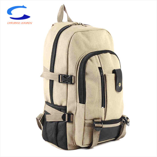 China OEM 15′′ Brown Waterproof Nylon Big Capacity Double Side Compression  Straps Durable Carry on Double Shoulder Bags Travel Backpacks b450e1e4d6992