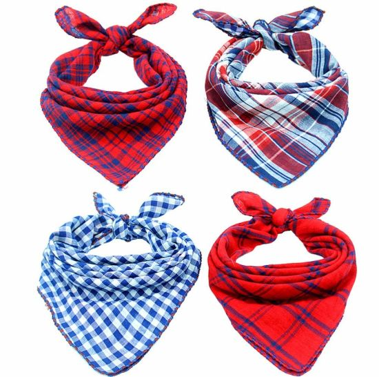Dog Bandanas - 4 Pack Washable Triangle Bibs Scarfs, Reversible Plaid Printing Kerchief for Dogs and Cats