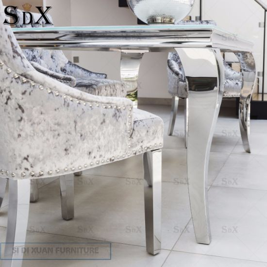 China Removable Stainless Steel Leg Knocker Dining Chair
