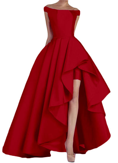 Stain off Shoulder High Low Long Formal Evening Dress Party Dress