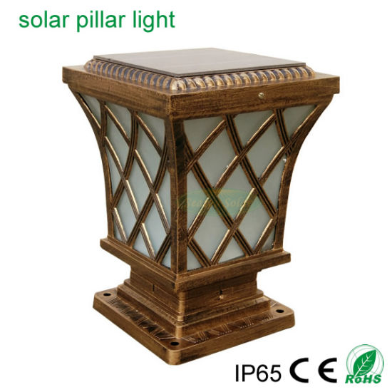 Classical Brass Solar Style 5W Garden Outdoor LED Lighting Solar Main Gate Light