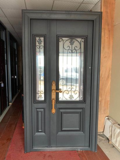 Luxury House Wrought Iron Entry Doors with Tempered Glass Window
