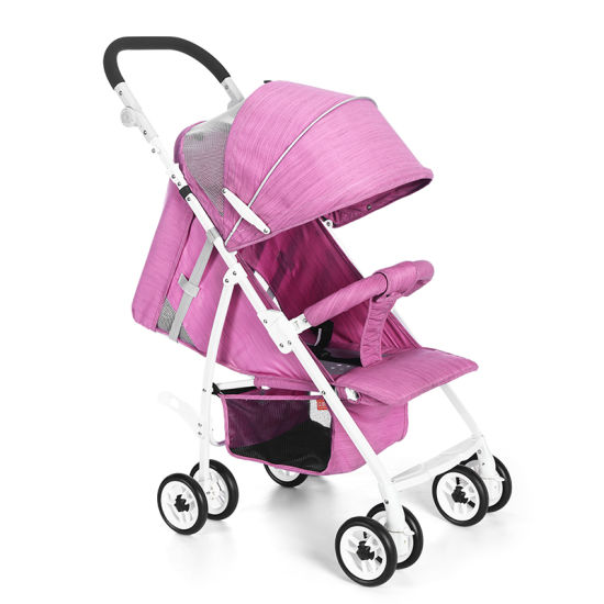 df144089296 Rose Color Lightweight Portable Baby Stroller with Stainless Steel Frame