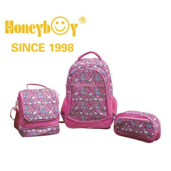 Light Pink Pattern Children's School Bag Set with Cooler Bag and Pencil Case