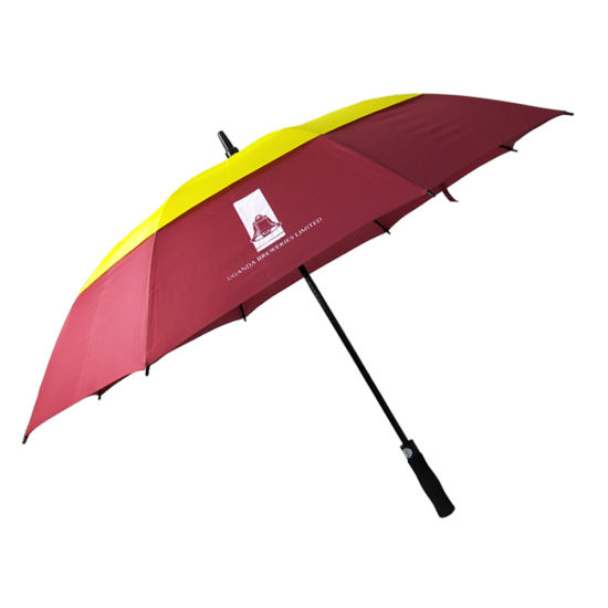 High Quality Windproof Frame Automatic Fiberglass Double Layer Golf Umbrella with Logo Printing