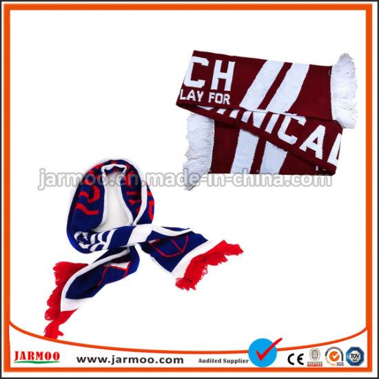Manufacturers Custom Logo Acrylic Knitted Football Fan Scarf