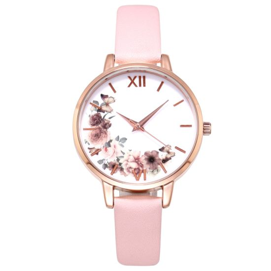 Floral Fashion Wristwatch with Leather Strap Women's Analog Casual Watch