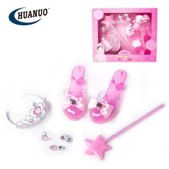many styles better get online Girls Plastic Princess Tiara Wand Toys with High Heel Shoes