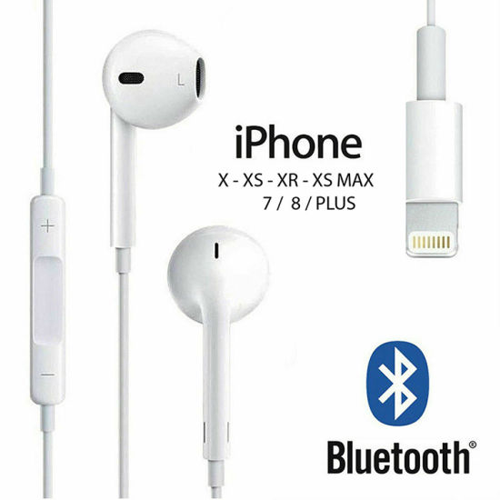 White Lightning Earbud Bluetooth Earphone for Apple iPhone 7 8 Plus X with Volume Control for Earpods