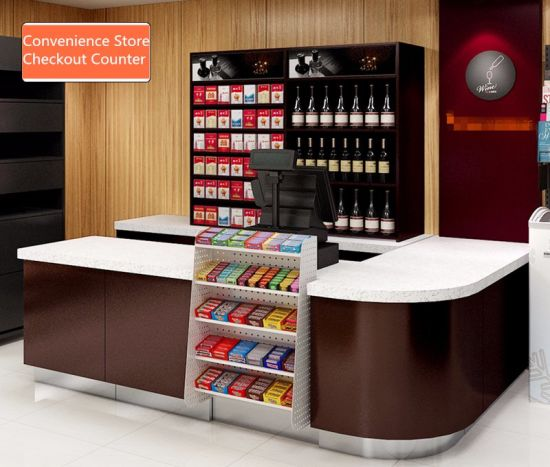 Customized Supermarket Design Grocery Checkout Counter Display Retail Cash Register Table pictures & photos