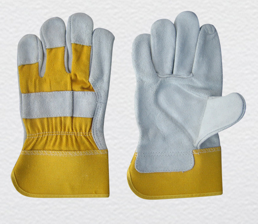 Cow Split Leather Industrial Heavy-Duty Safety Work Glove with Ce Approved