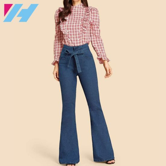 China Top Quality Women S Track Pant Tie Waist Flare Leg Jeans China Basic Women Jeans And Slim Fitted Track Pants Price