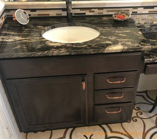 China Black Cosmic Granite Bathroom Vanity Tops Sinks China