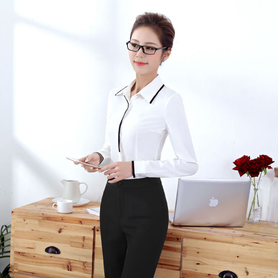 Wholesale Long Sleeve Fashionable Women Bussiness Shirt and Blouse pictures & photos