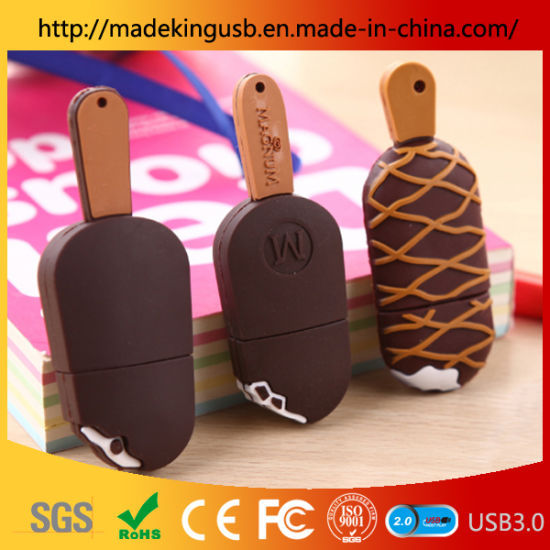 Wholesale PVC Cartoon Ice Cream 64GB U Disk Cute Creative Small Popsicle USB Flash Drive