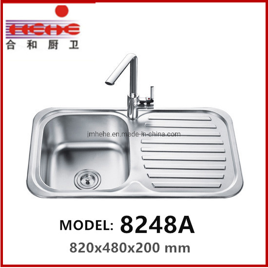 Stainless Steel Kitchen Wash Basin with Drain Board pictures & photos
