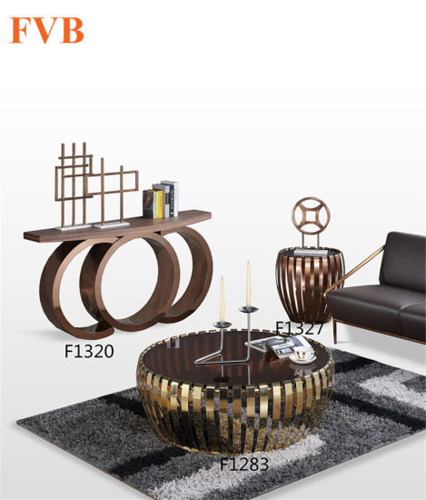 Modern Stainless Steel Base Small Coffee Table Set With Afforable