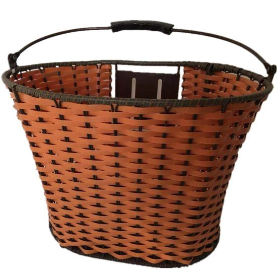 Front Bicycle Basket with Weaven Plasitic Wire and Qr