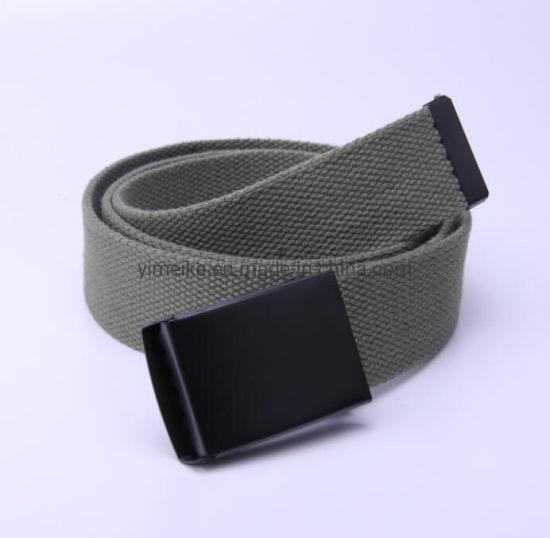 Black Electrophoretic Flap Buckle Polyster Fabric Men Belt 33 Colors