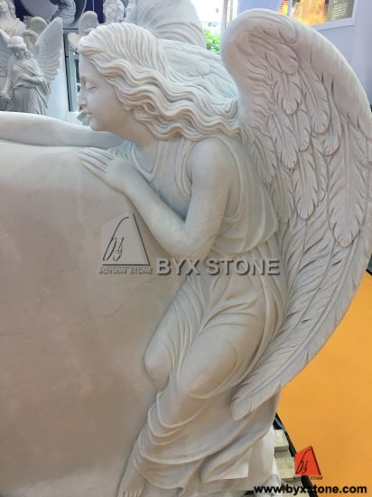 White Marble Hand Caved Angel Sculpture Headstone for Cemetery pictures & photos