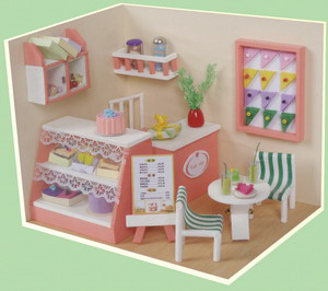 China New Design Wooden Toy Doll House Cake Shop China Wooden Toy