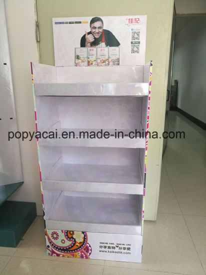 Cardboard Floor Display for Biscuits, Paper Pallet Display Shelf with Cmyk Offset Printing pictures & photos