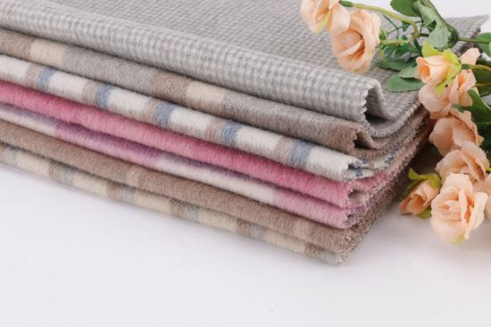 Wool Fabric, Double-Sided Checked Woolen Fabric for Overcoat