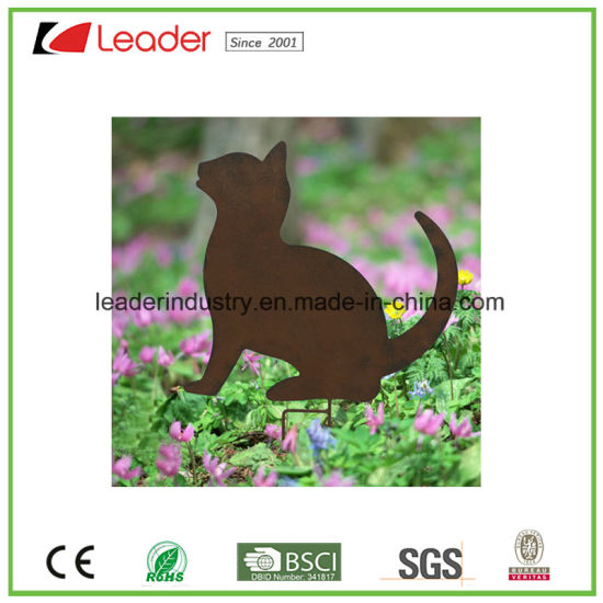 Hot Sale Powder Coat Iron Cat Silhouette For Garden Stake And Lawn  Decoration