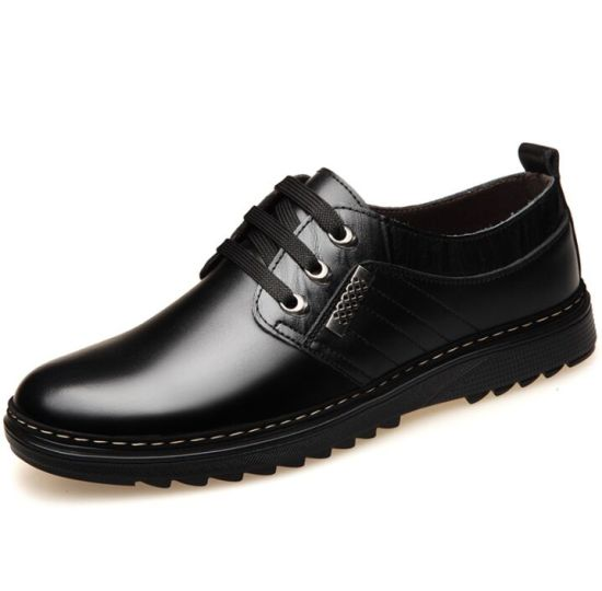 Men Leather Hollowed-out Breathable Lacing Holes Casual Leather Shoes pictures & photos
