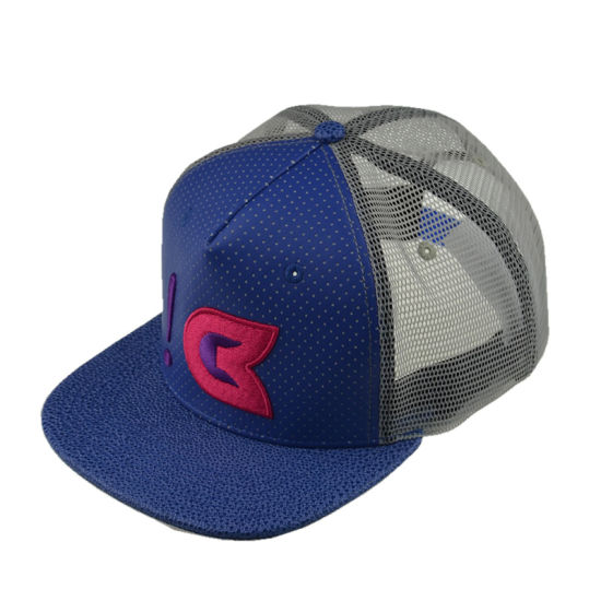 684d43e85adb6 China Promotional Custom PU Embroidery Snapback Mesh 5 Panel Trucker ...