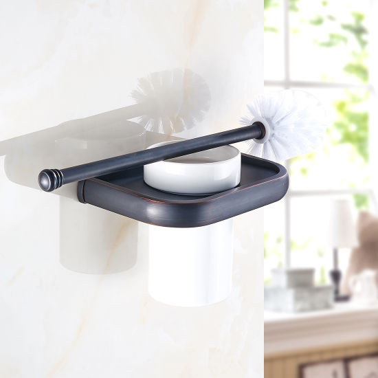 Flg Toilet Brush Holder with Ceramic Cup Oil Rubbed Bathroom