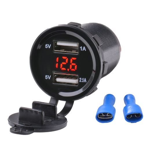 Dual 3.1A USB Motorcycle Car Cigarette Lighter Socket Charger Adapter with LED Digital Voltmeter Meter Monitor + 60cm Power Cable pictures & photos