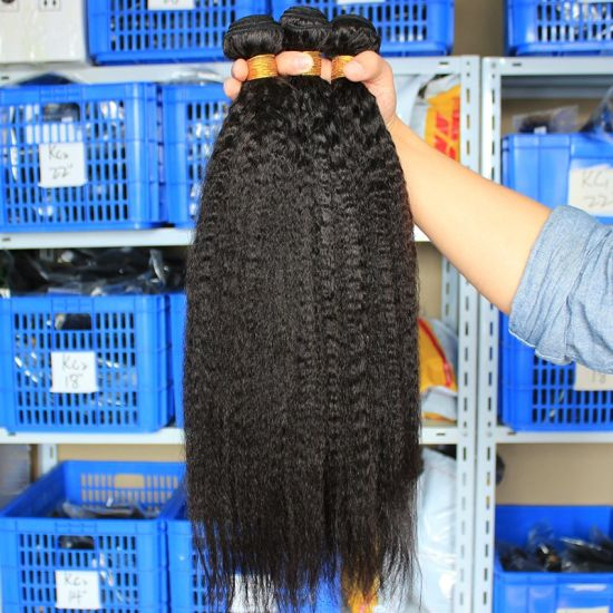 Grade 10A Kinky Straight Brazilian Virgin Hair Weave Bundles Wholesale Natural Remy Human Hair Extensions