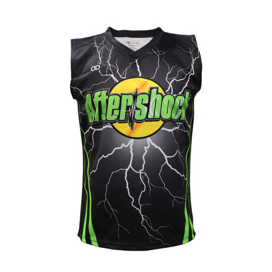 Healong Sublimated Wholesale Women Sleeveless Baseball Wear Custom Cheap Baseball Jersey pictures & photos