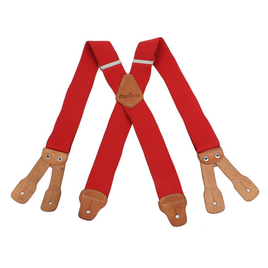 Heavy Elastic Webbing Fashion Genuine Leather Buttone Hole Suspenders (RS-137175)