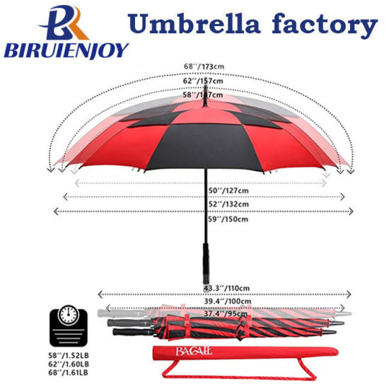Custom Windproof Waterproof Automatic Straight Golf Umbrella with Carry Bag Red Black