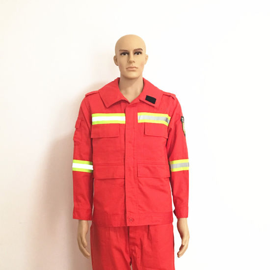 Logo Fireproof Flame Retardant Red Suits with Reflective Tape pictures & photos