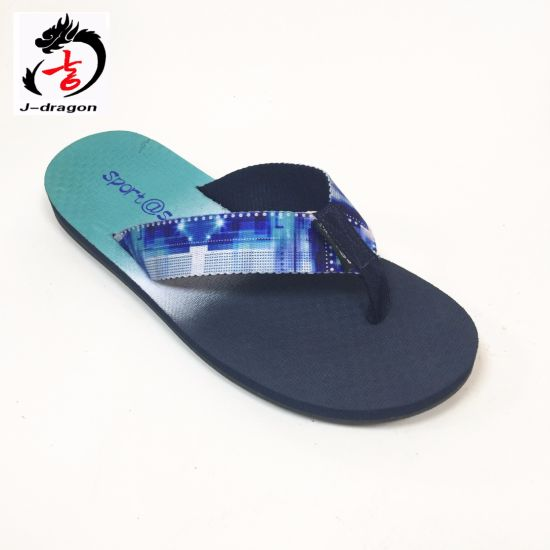 Two Color PVC Men's Flip Flop Beach Slipper Outdoor Shoes