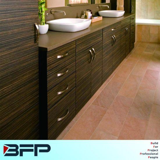 Custom Made Horizontal Wood Grain Melamine Bathroom Cabinet