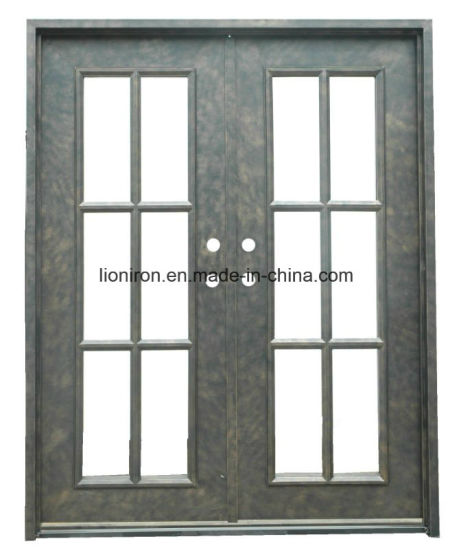 China Security Straight Flat Top Custom Iron Front Entry Door