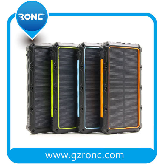 High Power 16000mAh Solar Wireless Power Bank Waterproof Mobile Power Banks with LED Light pictures & photos