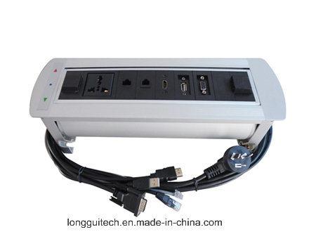 Silver Round Edge Electrical Flipping Desktop Socket