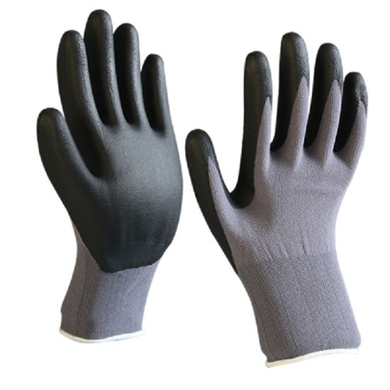 15 Gauge Grey Spandex Knit with Nitrile Foam Coated Gloves